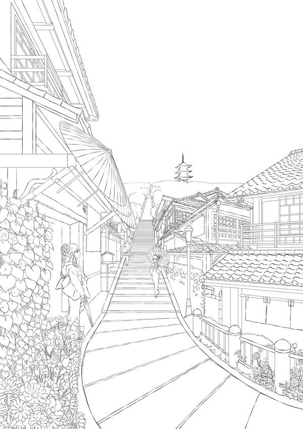 Japanese_summer_lineArt
