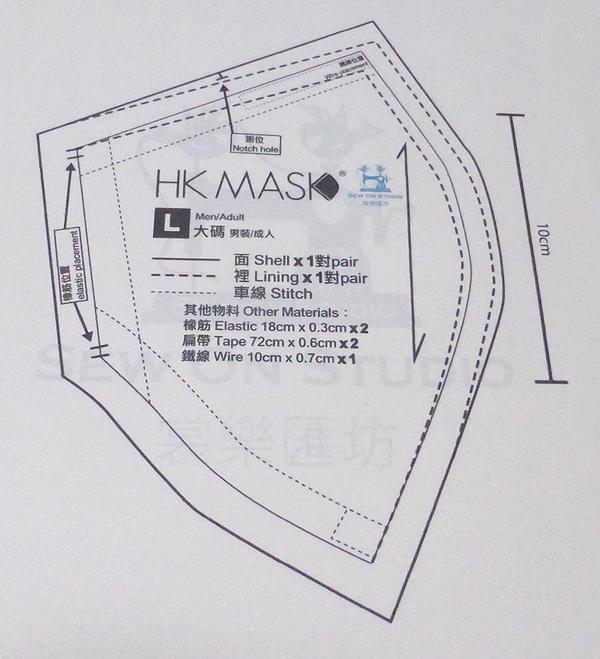 マスク 型紙 Hk