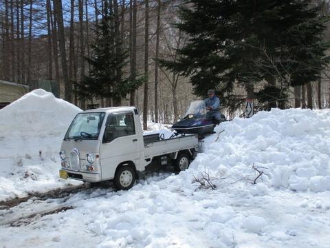 今朝、キリンテは雪が降りました