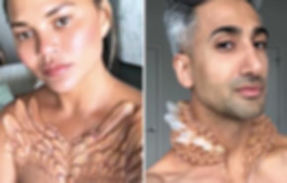 安心してください特殊メイク術です。胸元に羽、首に鉱物。海外セレブがゾッとする身体改造写真をインスタグラムに公開