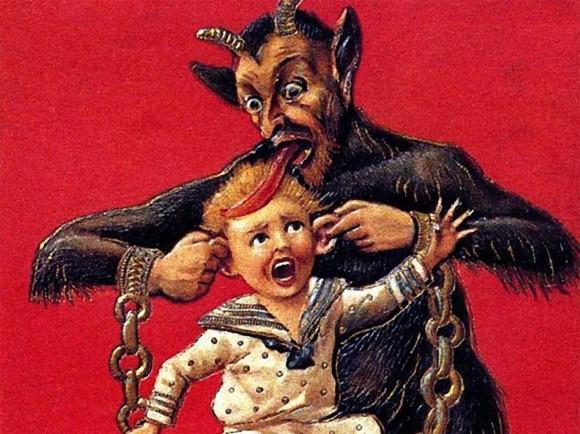 本当に怖い、暗黒のサンタクロース、「クランプス」が描かれたクリスマスカード