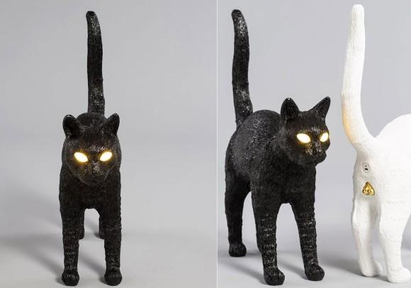 キラーン!スイッチを入れると邪悪めいた目が光る、お尻からUSB充電できる猫のランプが予約受付開始
