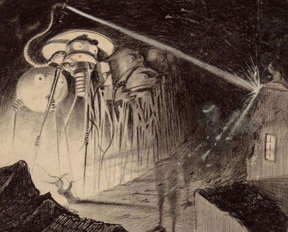 SFの夜明け:H・G・ウェルズ『宇宙戦争』のすばらしい100年前のイラスト(1906年)