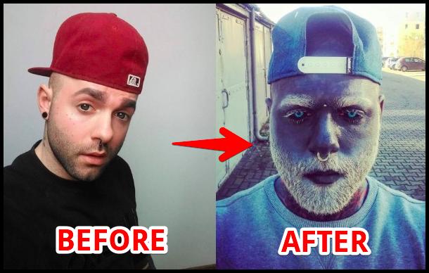 目標は全身の99%を覆うこと。顔と頭、眼球をタトゥで真っ黒にした男性。それにはこんな理由があった(ロシア)
