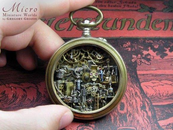 古い時計の中にはノスタルジーとファンタジーがいっぱい!時計の中に小さな世界を組み込んだ驚くべきジオラマアート