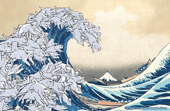 北斎と猫って良く合う!葛飾北斎の「神奈川沖浪裏」の波が白猫だったら?