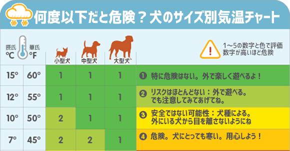 犬は喜び庭かけまわるとは限らない。犬だって寒すぎると危険?犬のサイズ別お散歩気温チャート図