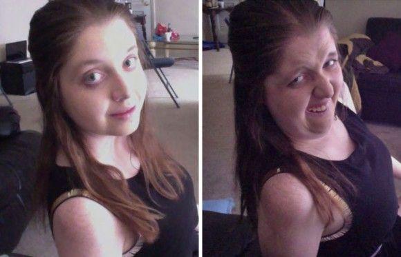 一番美しい自分と一番醜い自分の比較画像を投稿するのが流行っているらしい。変顔比較「PrettyGirlsUglyFaces」