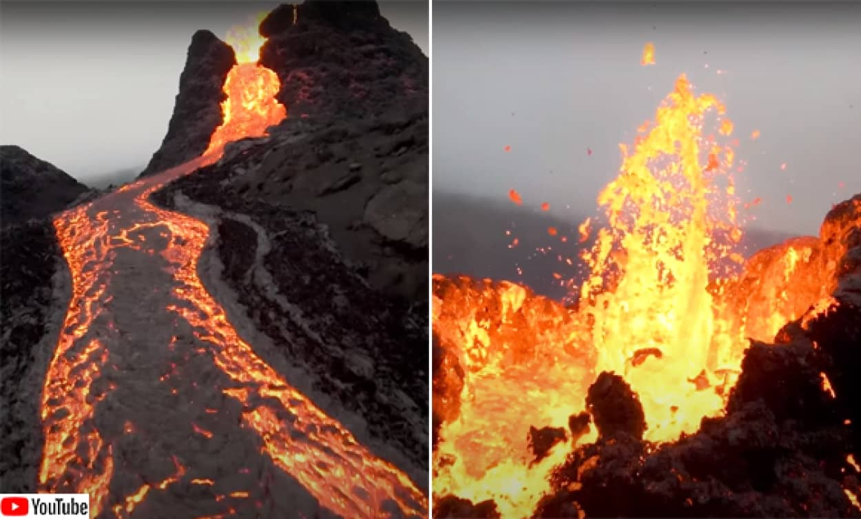 アイスランド、ファグラダルスフィヤル火山噴火をドローン映像で