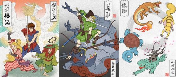 浮世絵であのゲームキャラクターたちを描いた「浮世絵ヒーロー」