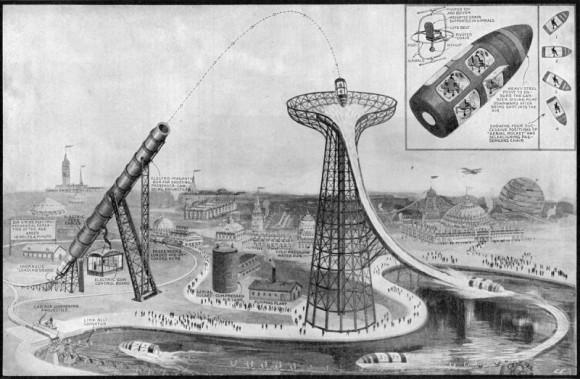 弾丸のようなカプセルに乗って発射され、タワーに落下。1919年に構想された遊園地のアトラクション「エレクトリック・ガン」とは?