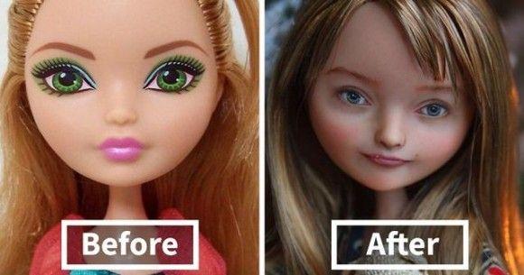 デフォルメされた既成の人形の顔を消し、リアルな人間に近い顔を描いてみた。人形の顔ビフォア・アフター