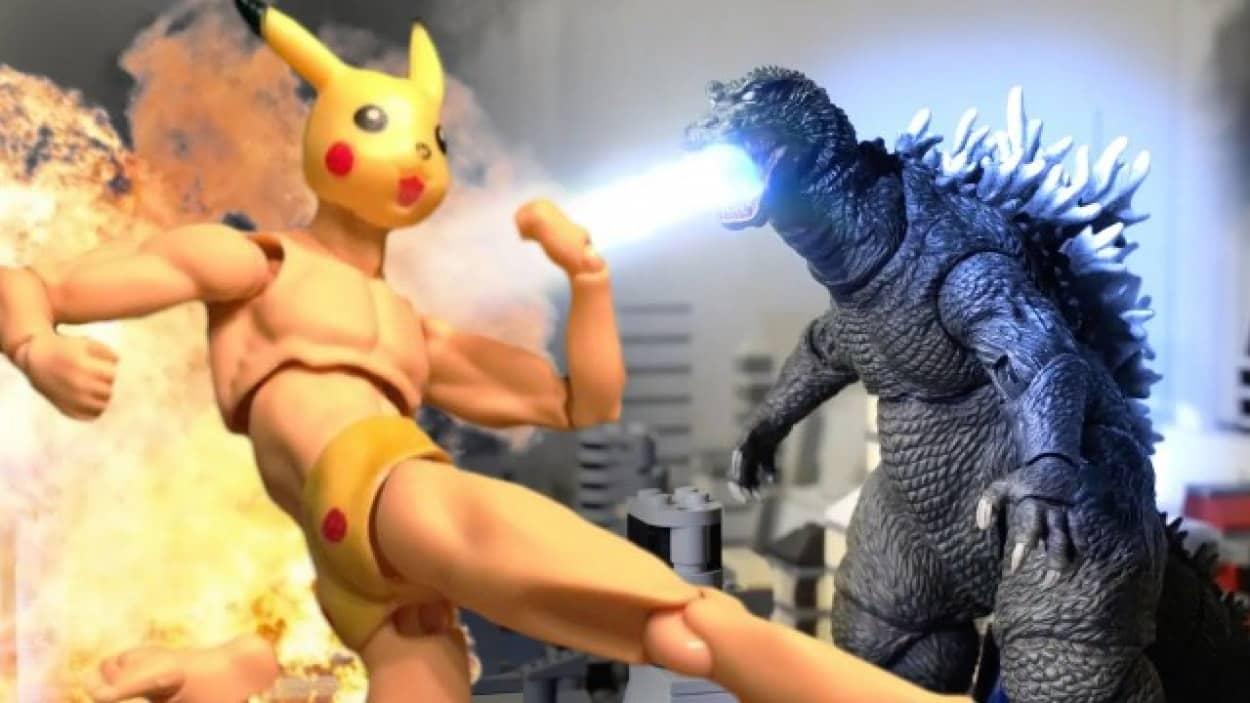 ピカチュウめいたマッチョマンが肉体の身でゴジラと戦うストップモーションアクションムービー「Pexachu VS Godzilla 」