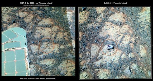 火星の表面に突如現れた謎の石。何もなかったはずの地表に忽然と現れる