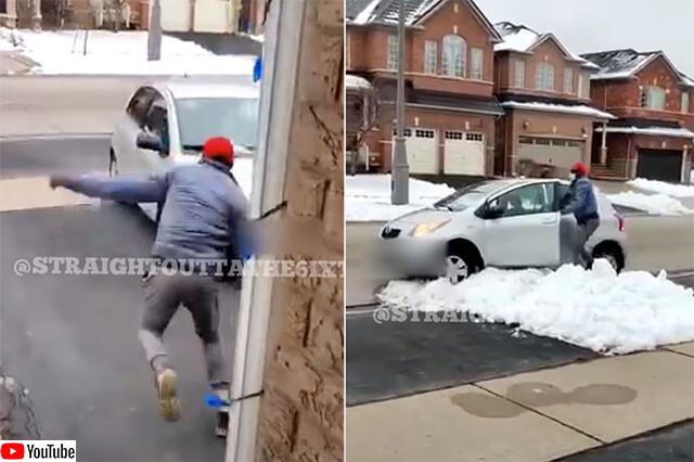 置き引き犯、車が雪にはまって逃走失敗no title
