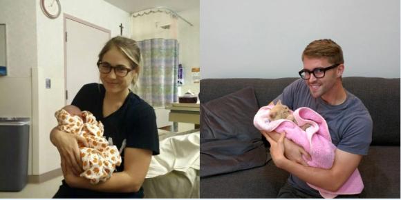 双子の姉が子供との幸せそうな写真をアップしてるので、独り身の弟は猫と同じポーズを真似してみた