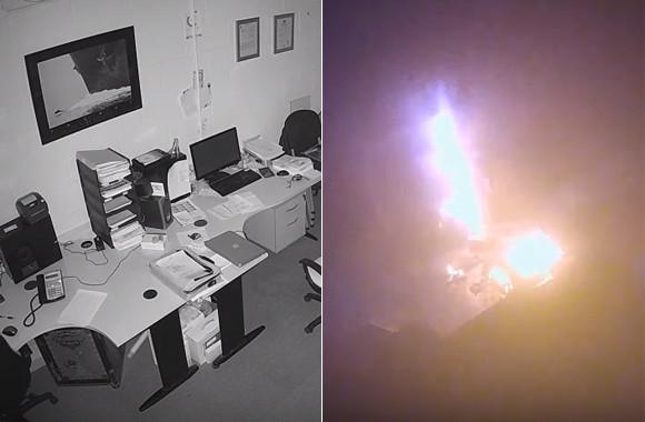 無人のオフィスで突如ノートパソコンが爆発炎上。その一部始終を監視カメラがとらえていた(イギリス)