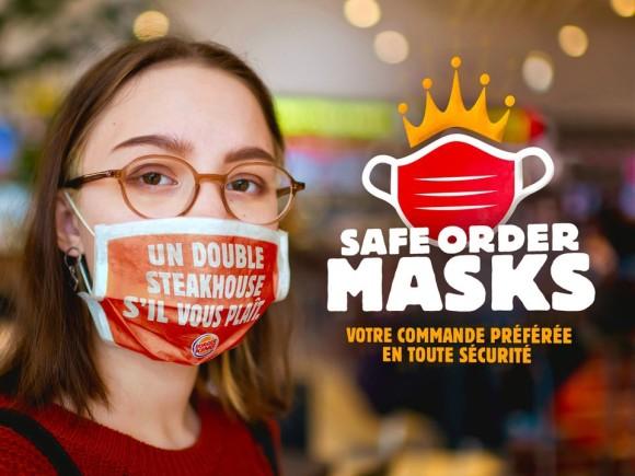 バーガーキングで顧客の注文をプリントしたマスク