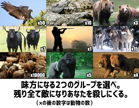 「味方にする2種の動物を選べ。残りはみんな殺しに来る」というお遊び問題にネット上では大論争が勃発