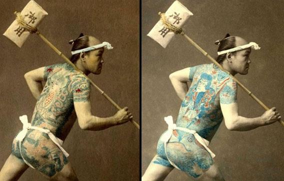 浮世絵職人が色づけした刺青をした飛脚・火消しの写真(江戸後期-明治)