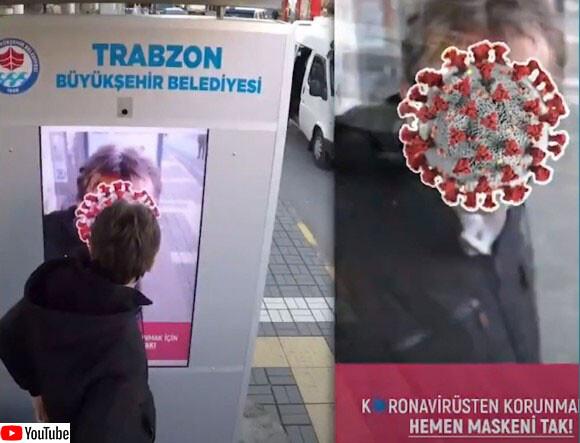 顔がウイルスに変化するAIモニターがバス停に設置(トルコ)