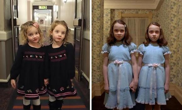 双子の女の子が生まれたもんだから、お父さん張り切っちゃってお約束のアレをやってみた。愛娘で「シャイニング」