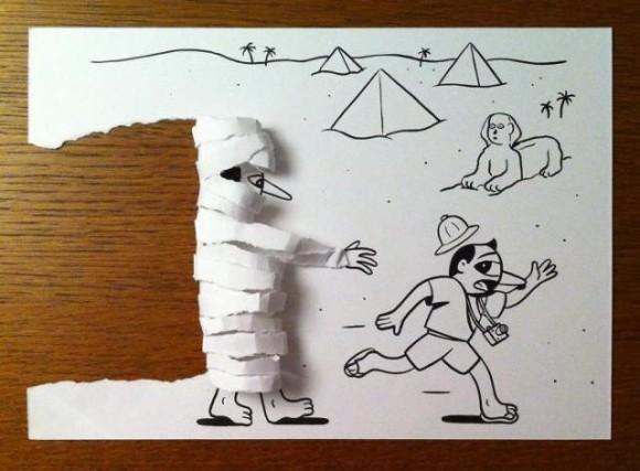 類まれなる立体感。紙を折り曲げたりカットすることでモノトーンのイラストが浮き出る飛び出す立体アート
