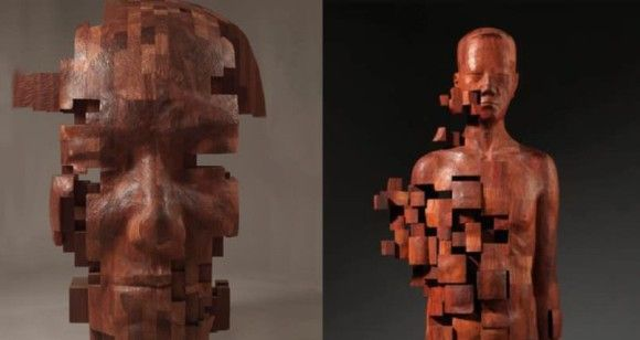 伝統文化と現代文明の融合。木材の彫像をピクセル処理したアート作品