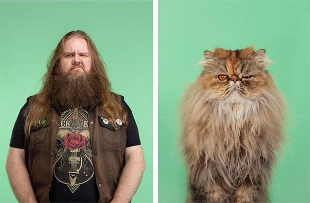 飼っているうちに似てきたのか?最初から似てたのか?猫と飼い主の比較写真