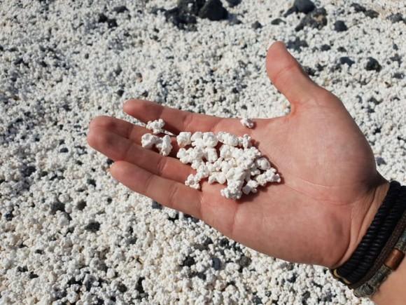 おいしそうだけど食べられません。ポップコーンそっくりな砂が浜辺を覆いつくすフエルテベントゥーラ島の海岸(スペイン)
