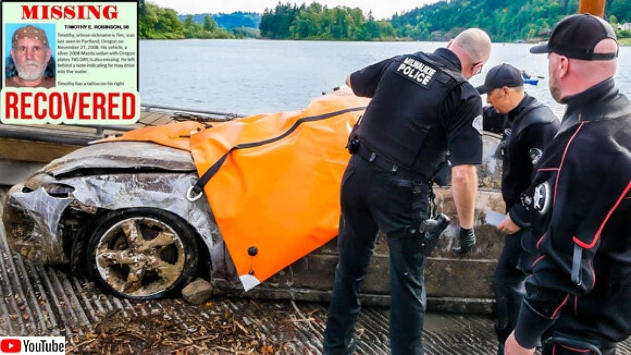 川に沈んだ車の中に痛い発見