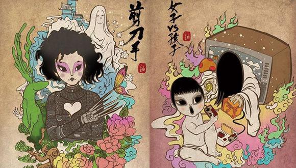ホラー映画のあのキャラクターたちを中国の伝統的な画風で