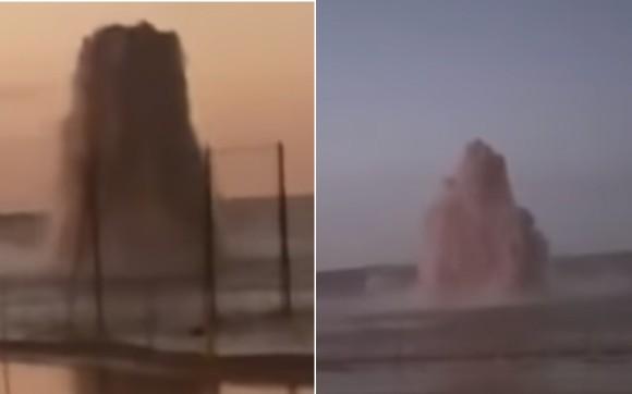 オアシス誕生の瞬間。砂漠から突如吹き上がった大量の水(サウジアラビア)
