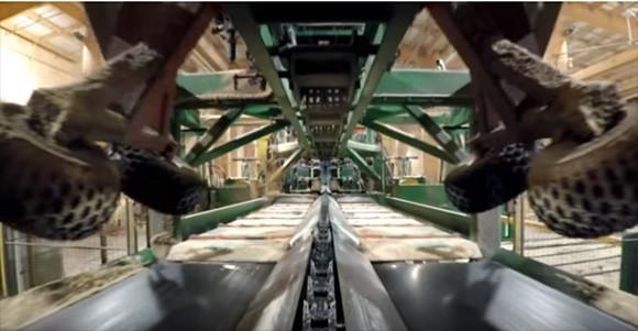 丸太になってコンベアの上で切り刻まれる感覚を味わえる製紙工場の映像