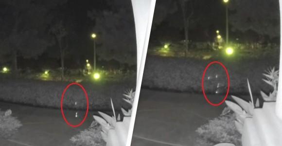 防犯カメラがとらえた奇妙な複数の光オーブ