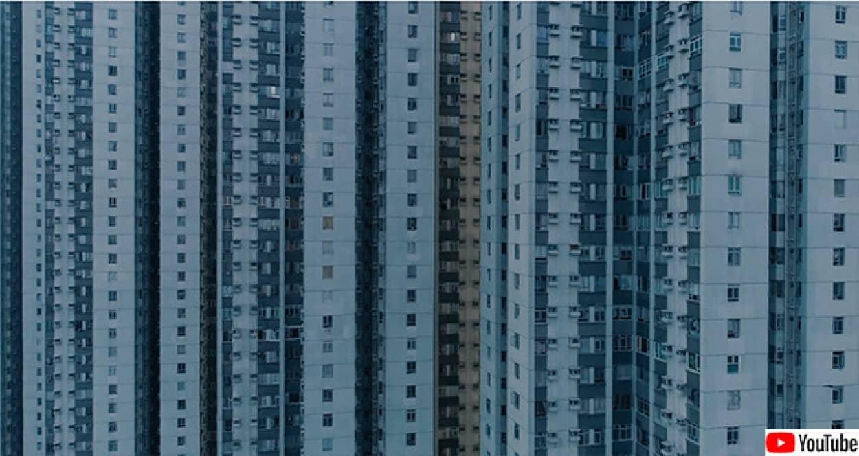 香港の高層公営住宅のドローン映像