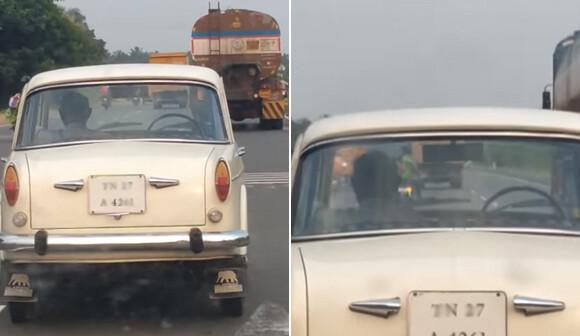 運転手なして走っている車を目撃