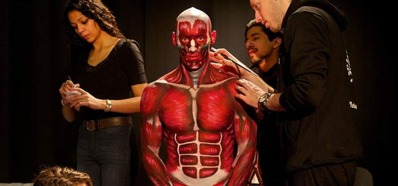 生身の人間で解剖学に忠実なリアル人体解剖模型をボディーペインティング(オーストラリア)