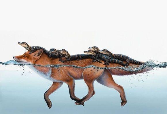 みんなともだち・アニマルフレンズ。動物・植物・静物を融合させたスーパーリアリズム絵画