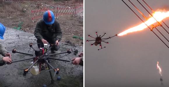 電線の障害物を火炎放射ドローンで焼き払うとかいう大胆な作業が実際に行われている件