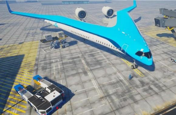 ギブソンのギターかな。KLMオランダ航空が次世代型旅客機「フライングV」のプロトタイプ映像を公開