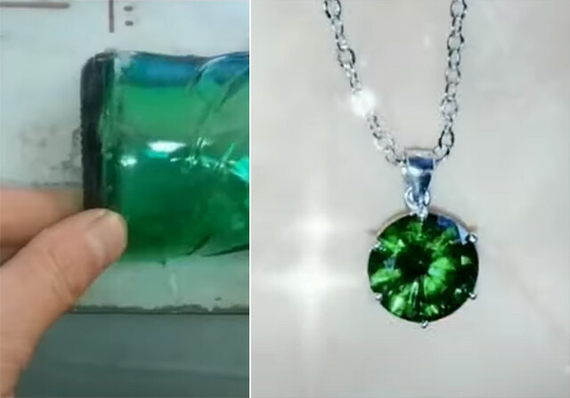 この美しい宝石がビール瓶で出来ているだとぅ?驚きの加工職人の技術