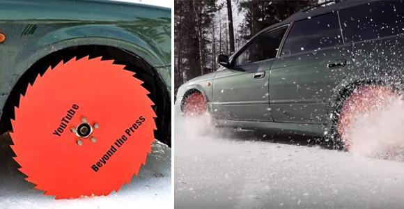 リアル走る凶器!車のタイヤをノコギリに換えて氷上を走るトンデモ実験、さらには路上まで!(フィンランド)
