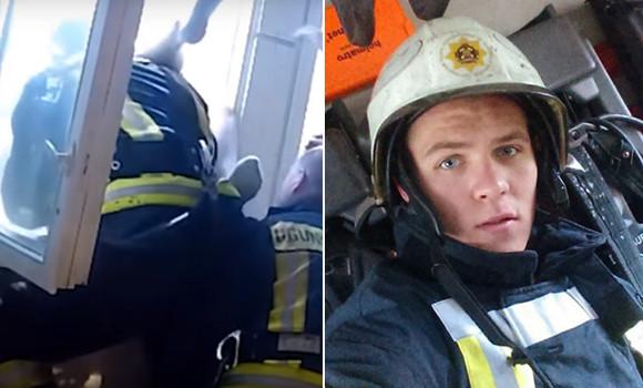 アパートの4階から落ちる女性を下の窓から素手でキャッチした消防隊員(ラトビア)