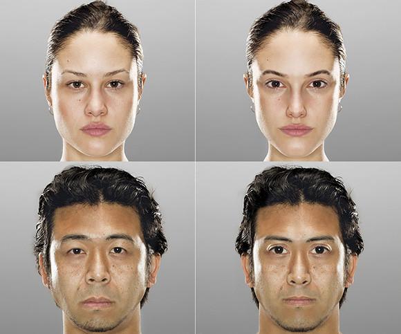 脳波をチェックして理想の顔を探り出し、実際の顔と並べてみた比較写真「オリジナル・アイデアル」