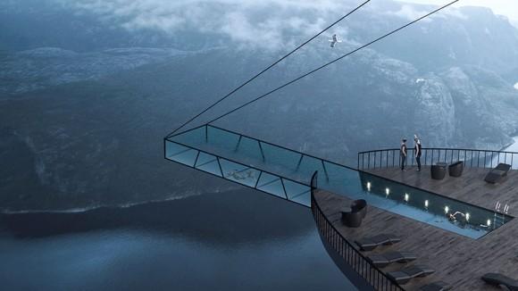 きょえぇぇ~!フィヨルドの断崖絶壁に張り出す超高所ホテル構想(ノルウェー)