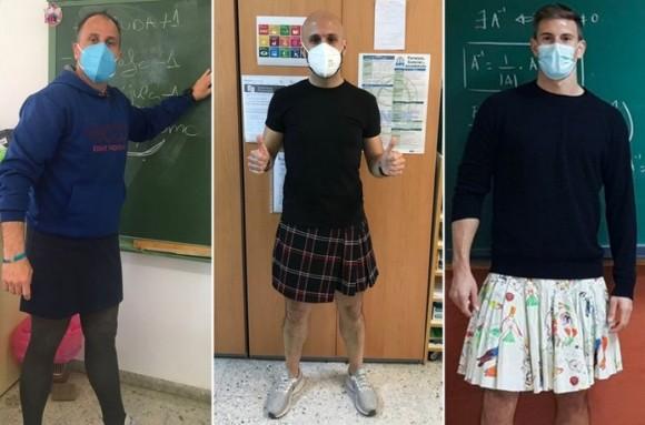 スカートを履いて退学処分になった生徒を擁護する為、スカートを履いて授業をする男性教師たち