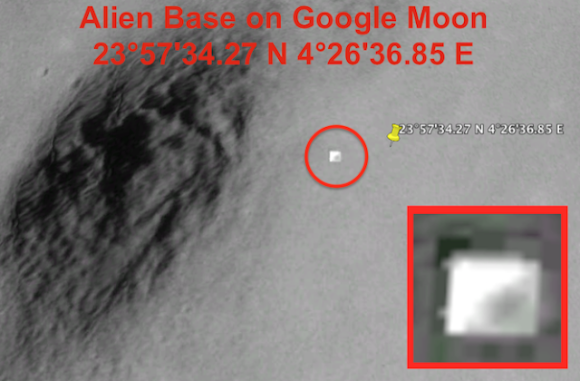 エイリアンの基地かな。月面に人工的な四角い謎の建造物が発見される。