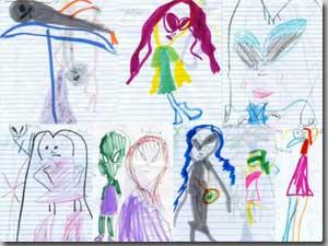 宇宙人に連れ去られた子どもたちが描いた宇宙人の絵