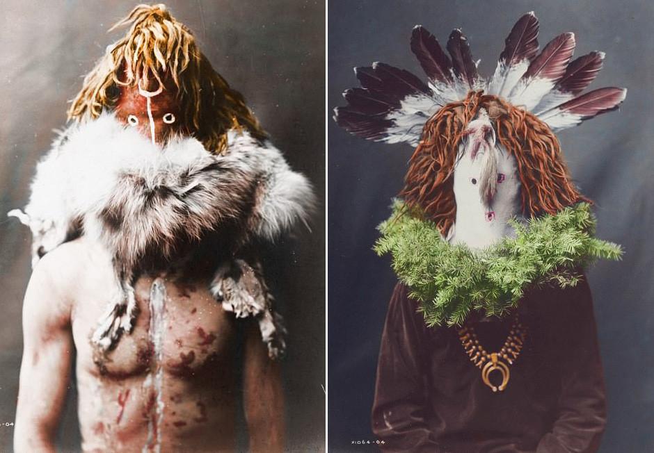 インディアン「ナバホ族」が治療の儀式を行っている約100年前の写真をカラー化